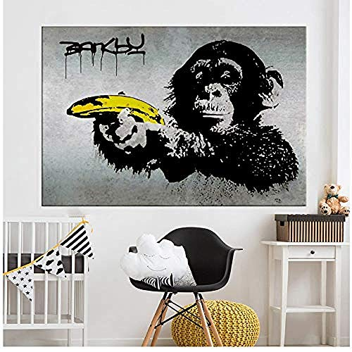 Canvas print,Canvas Art Banksy Graffiti schilderij Chimpansee met een banaan muur foto's voor woonkamer Home Decor afgedrukt-50x80cm