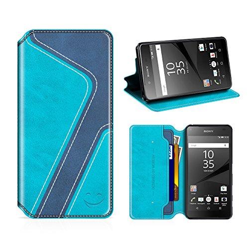 MOBESV Smiley Sony Xperia Z5 Hülle Leder, Sony Xperia Z5 Tasche Lederhülle/Wallet Hülle/Ledertasche Handyhülle/Schutzhülle mit Kartenfach für Sony Xperia Z5, Aqua/Dunkel Blau