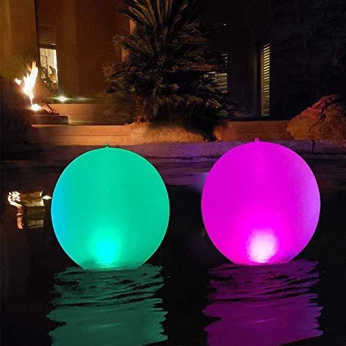 nakw88 Groß Fließend und Aufblasbarer Wasserball Spielzeug, LED Leuchtend in The Dark mit Farbe Wechselnde Lichter, 40CM, Wickelauflage LED Nachtlampe für Halloween Party, Pool/Strand Party, Raves