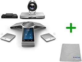 Global Teck Bundle of Yealink UVC30 ZoomRoom Video Conference Kit with CP960 Conference Phone, PTZ Camera, Cloth for Huddle Rooms (UVC80-Large Rooms)