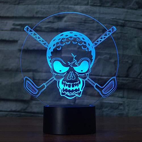 Lámpara de mesita de noche LED inteligente con Bluetooth Lámpara de ilusión 3D Luz de noche LED Personalidad Golf Forma de cabeza de calavera Interruptores táctiles de 7 colores coloridos para de
