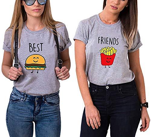 Daisy for U Best Friends T-Shirt für 2 Mädchen mit Aufdruck Burger und Pommes Lustige Passende Kurzarm Damen von-1 Stück-Grau-Pommes-S