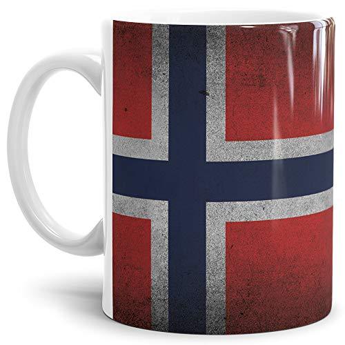 Tassendruck Flaggen-Tasse Retro Norwegen - Kaffeetasse/Mug/Cup - Qualität Made in Germany