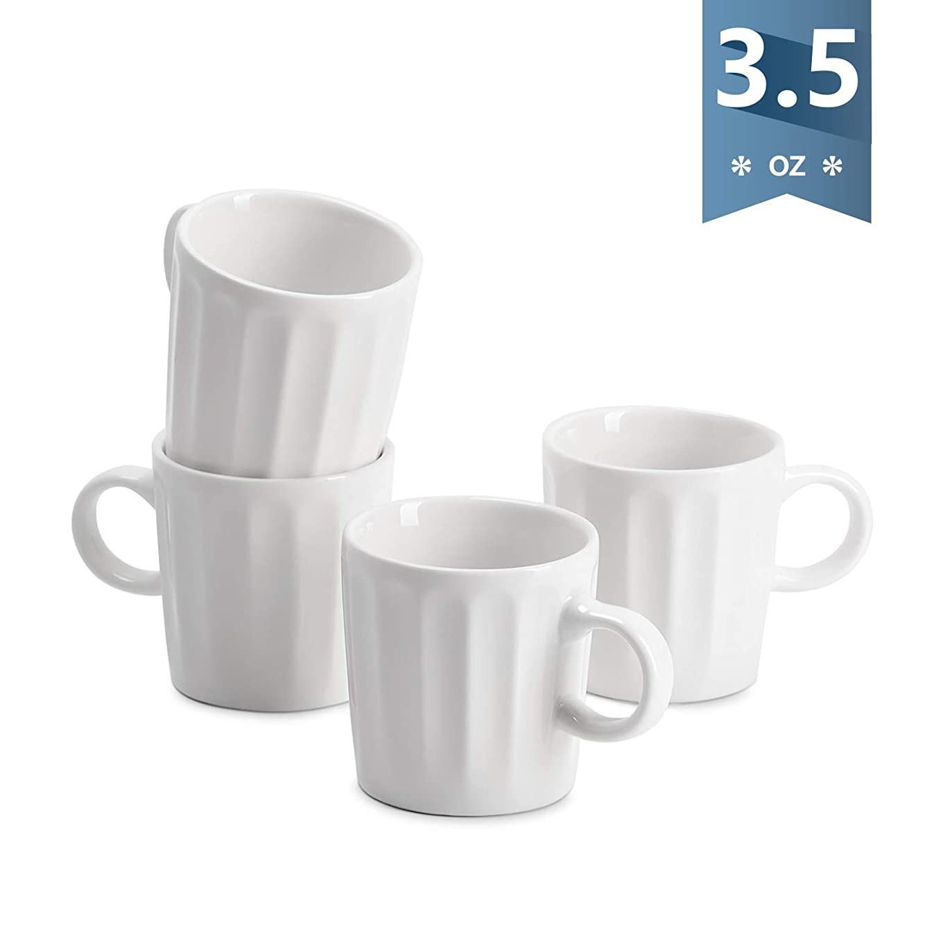 Sweese 4321 Porcelain Espresso Cups - 3.5 Ounce - Set of 4, Fluted cups, White
