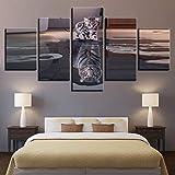 LZLZ 5 Leinwandbilder Leinwand Modulare Tiger Arbeit Bilder HD Gedruckt 5 Panel Katze Wandkunst Malerei Mode Für Wohnzimmer Decor Poster
