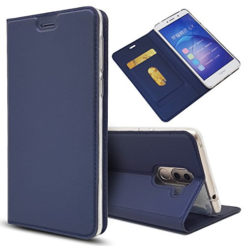 Copmob Huawei Honor 6X Hülle, Premium PU Leder Handyhülle [Ultra Slim] Brieftasche-Stil Magnetisch Flip Klapphülle [Transparenter TPU Stoßfänger] [Karte Halterung] Schutzhülle - Blau