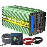 Edecoa 2000W 24V Power Inverter DC 24V to 110V AC Power Converter LCD and Remote Controller 4.2A Dual USB Ports