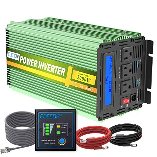Edecoa 2000W 24V Power Inverter DC 24V to 110V AC Power Converter LCD and Remote Controller 4.2A Dual USB Ports