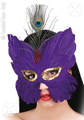 Monami Costumi e Maschere Maschera Viola in Piume