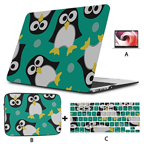Case MacBook Pro 15 Penguin White Black Handsome Animal MacBook Pro 13 Cover Hard Shell Mac Air 11'/13' Pro 13'/15'/16' with Notebook Sleeve Bag for MacBook 2008-2020 Version