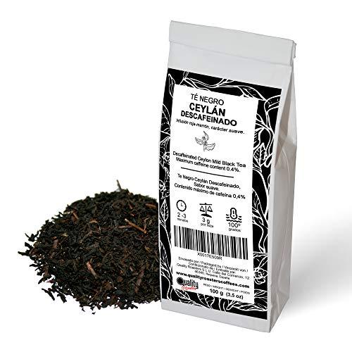 Té Negro Ceylán Descafeinado. Infusión de carácter suave. Antioxidante. Contenido máximo de cafeína (0,4%). 100 gramos.