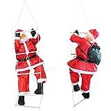 [en.casa] Weihnachtsmann auf Leiter 150cm Weihnachts Deko Weihnachten Figur Nikolaus