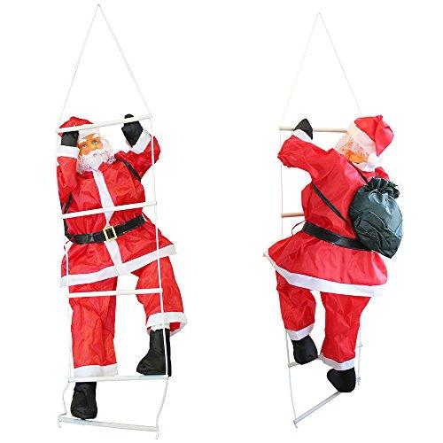 lux.pro [en.casa] Weihnachtsmann auf Leiter 150cm Weihnachts Deko Weihnachten Figur Nikolaus