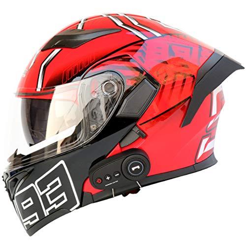 Motorradhelme,ECE/DOT genehmigt,Klappbare Motorcross-Helme,Motorradhelm mit Bluetooth,Doppelvisier Scooter Crash Helm F-M