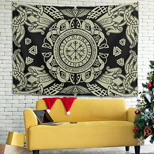 Buweirezhi Tapiz de pared Viking Vegvisir y Valknut natural, para colgar en la pared, para esterilla de yoga, color blanco, 150 x 130 cm