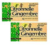 [ INFUSION 100% CITRONELA Y JENGIBRE ] Set de 2 cajas de infusión con citronela y jengibre 100% natural | Regalo: un platillo de silicona | 2 x 25 sobres de 1.6g
