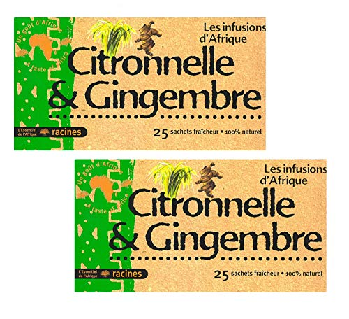 [ INFUSIONS CITRONELLE ET GINGEMBRE 100% NATUREL ] Lot de 2 boîtes d'Infusions 100% Citronelle et Gingembre + un joli stickers de la marque Set Products [2 x 25 sachets de 1,6g]