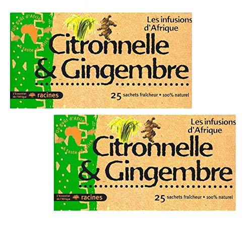 [ INFUSION 100% CITRONELA Y JENGIBRE ] Set de 2 cajas de infusion con citronela y jengibre 100% natural | Regalo: un platillo de silicona | 2 x 25 sobres de 1.6g