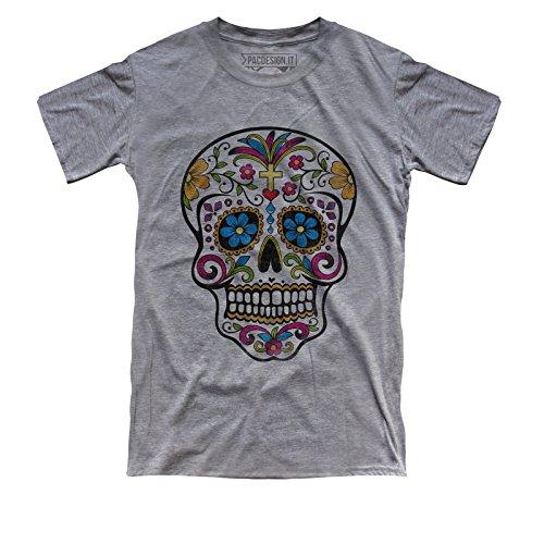 PacDesign T-Shirt Uomo Tattoo Old School Mexican Skull Teschio Rock Punk DK0209A
