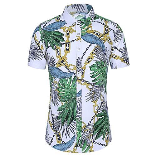 Mode Männer Schlank Lose Hawaii Kurz Ärmel Gedruckt Abdrehen Halsband T-Shirt Tops Shirt Spitze co Tops t Shirts mit Motiv Herren Hemden 54