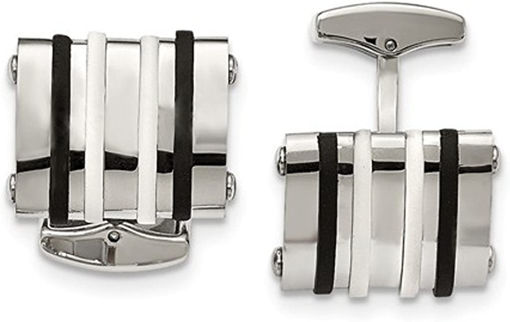 Stainless Steel, Black and White Rubber Bands Rectangle Cuff Links