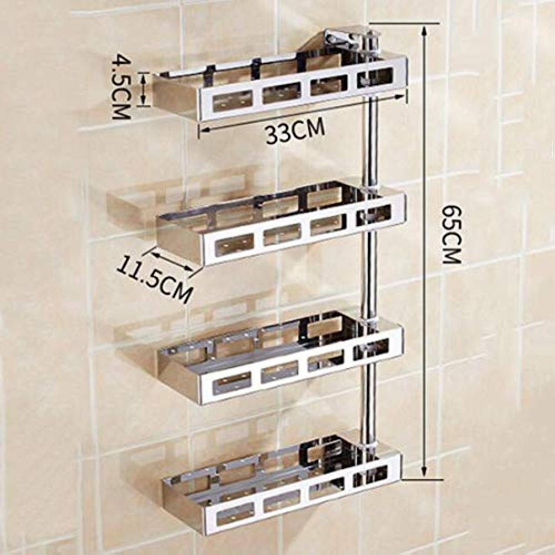 redated Stainless Steel Bathroom Shelf, Wall Mounted Bathroom Storage, rustproof no Drilling Space Saving athroom Shelves, 2-5 tiet, Black Sliver,SliverC