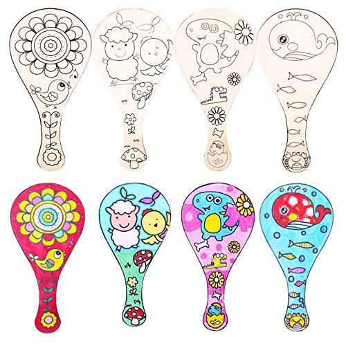 Zuzer Discos de Madera Raqueta de Tenis de Madera,4PCS Rodajas de Madera Natural Juguetes de Dibujo para Niños Manualidades de Bricolaje