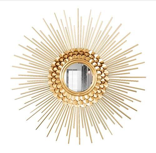Vintage Wall Mirror Sunburst Round Iron Art Creative 3D Stereo Shape,Wall Mirrors Hand forging Shabby Chic,Decorative Wall Mountable Home Decor Entrance, Hall, Bedroom, Hallway