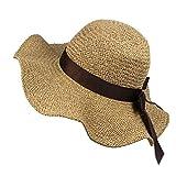 Bringbring Chapeau de Soleil d'été Femme Casquette de Plage Mode Bowknot
