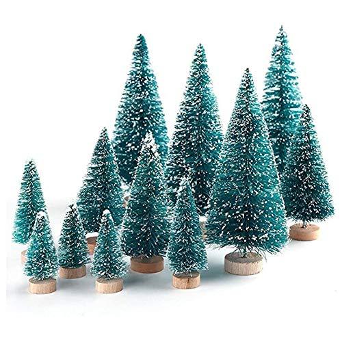Árboles de Escarcha de Nieve de sisal de Navidad, árboles de Escarcha de Nieve Artificial, Mini árboles de Navidad, árboles de sisal Verde para Navidad, Manualidades, decoración de Fiestas, 34 Piezas