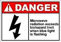 金属サインアルミニウムサイン、マイクロ波放射危険サイン警告ヴィンテージ金属サインガレージホームウォールアートパブバーの装飾セキュリティサインアルミニウム屋外&屋内サイン