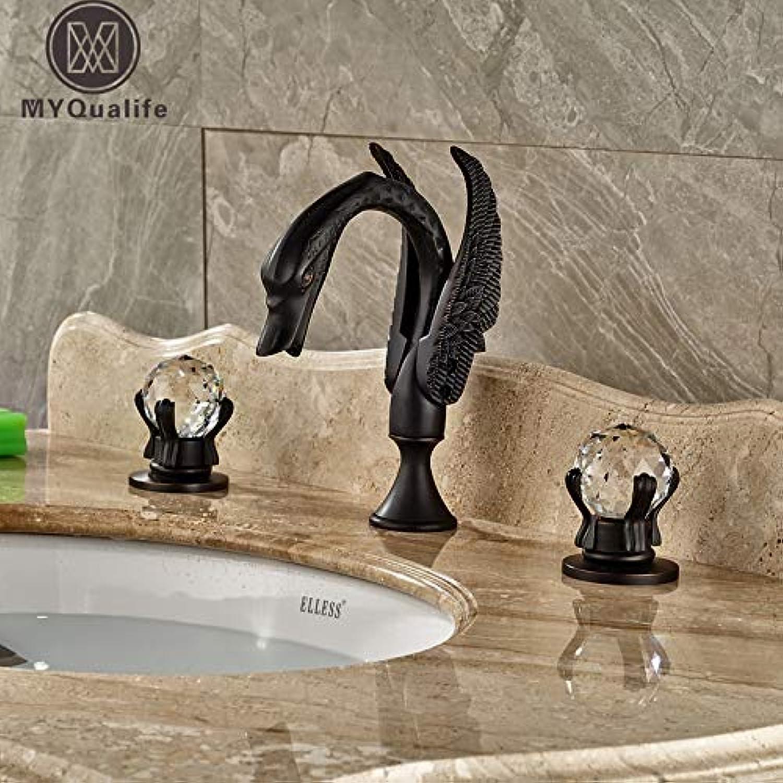 U-Enjoy Chandelier Two Cristal Luxury Handles Faucet Top Quality Tap Bathroom Swan Shape Widespread Mounted Basin Mixer Deck Taps Bronze Free Shipping