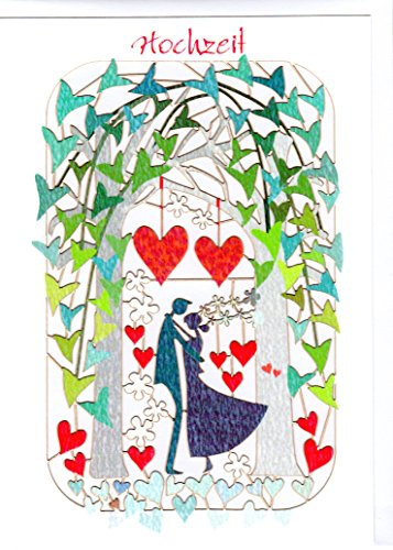 Außergewöhnliche Glückwunschkarte zur Hochzeit. Stilvolles Design und ausgefeilte Lasertechnik schaffen auf kleinstem Raum ein filigranes Kunstwerk, dass dem jeweiligen Anlass eine angemessene und langwährende Bedeutung verleiht. Designed und produziert von Ge Feng im walisischen Ross-on-Wye. FL254