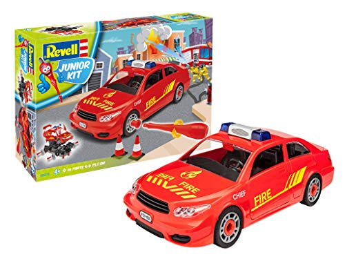 Revell Junior Kit Feuerwehr Auto Modellbausatz für Kinder zum Schrauben, robust zum Basteln und Spielen, ab 4+, kindgerecht, müheloses Verbinden weniger Teile, mit Aufklebern - FIRE CHIEF CAR 00810