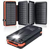 Solar Charger 26800mAh,Solar Power Bank with 4 Solar Panels, Flashlight, Dual 5V/2.1A USB Ports External Battery Compatible with Smartphones, Tablets and More Outdoor Camping