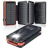 Elzle Cargador Solar Portátil a Prueba de Agua 26800mAh, Power Bank con 4 Paneles Solares, Puertos USB Duales de 5V / 2.1Acompatible con Teléfonos Inteligentes, Tabletas y Más Acampar al Aire Libre