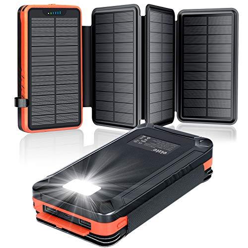 elzle Solar PowerBank 26800mAh, Solar Ladegerät mit 4 Sonnenkollektoren, Taschenlampe, Zwei 5V 2.1A USB-Ports Externer Akku Kompatibel Für Smartphones, Tablets Outdoor Camping Ladegerät
