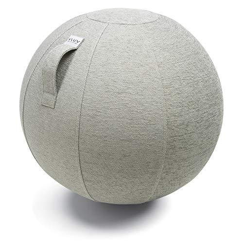 VLUV STOV Stoff-Sitzball, ergonomisches Sitzmöbel für Kinder und Erwachsene, Farbe: Concrete (grau), Ø 50cm - 55cm, hochwertiger Möbelbezugsstoff, robust und formstabil, mit Tragegriff