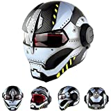 Cascos de Motocicletas,Iron Man Personalidad Casco Cool,Casco de Moto Halloween Casco Vintage Casco Moto Flip-Up de Cara Abierta A,L=59~60CM
