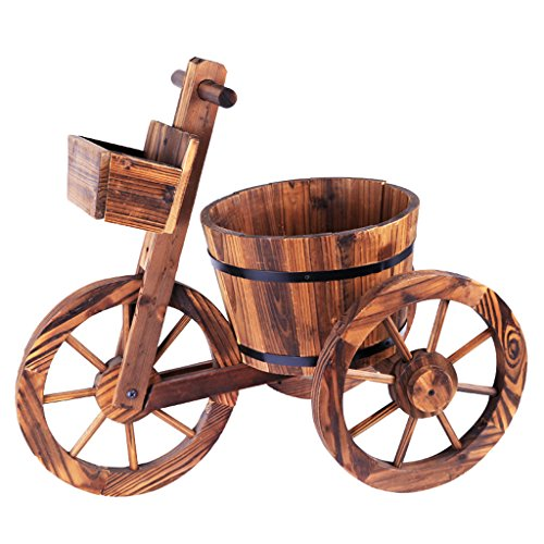 WXL Fleur Stand tricycle en bois solide carbonisation anti-corrosif baril intérieur extérieur plancher