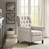 Madison Park Aidan Recliner Chair - Solid Wood, Plywood, Roled Back Button Tufted Accent Armchair Modern Classic Style Family Room Sofa Furniture, Cream