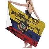 Hdadwy Estilo Retro Ecuador Bandera Sagrada Toalla de Playa Toalla de baño Toalla de Ducha Manta de Playa para Deportes Piscina Baño