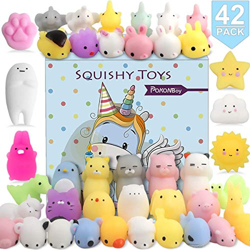 POKONBOY 42 Pcs Mochi Squishies Mini Squishy Toys, Kawaii Animal Squishies Stress Relief Toys for Boys & Girls Birthday Gifts Easter Event Classroom Prize Goodie Bag