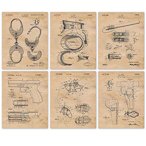 Vintage Police Patent Art Poster Prints, Set of 6 (8x10) Unframed Photos, Great Wall Art Decor Gifts Under 20 for Home, Office, Garage, Shop, Man Cave, Student, Teacher, Officer, Law Enforcement Fan