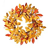 VGIA 18Inch Fall Wreath Front Door Decor Wreath Fall Decorations Autumn Leaves Wreath Harvest Wreath