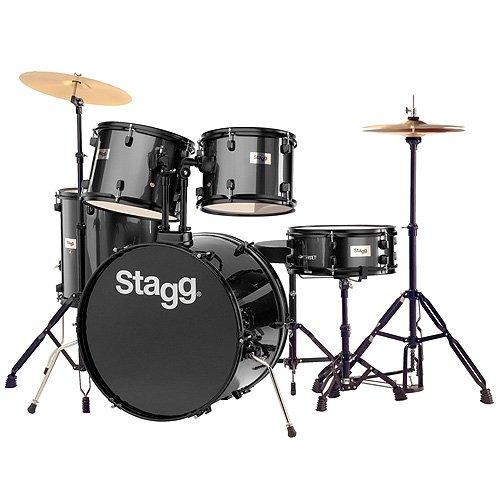Stagg 25020587 TIM122B Drum Set (55,88 cm (22 Zoll), 5 Stück) inkl. Hardware mit Cymbal Throne schwarz