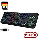 KLIM Chroma Gaming Tastatur QWERTZ DEUTSCH mit Kabel USB + Langlebig, Ergonomisch, Wasserdicht, Leise Tasten + RGB Gamer Tastatur für PC Mac Xbox One X PS4 Tastatur + Neue 2020 Version + Schwarz