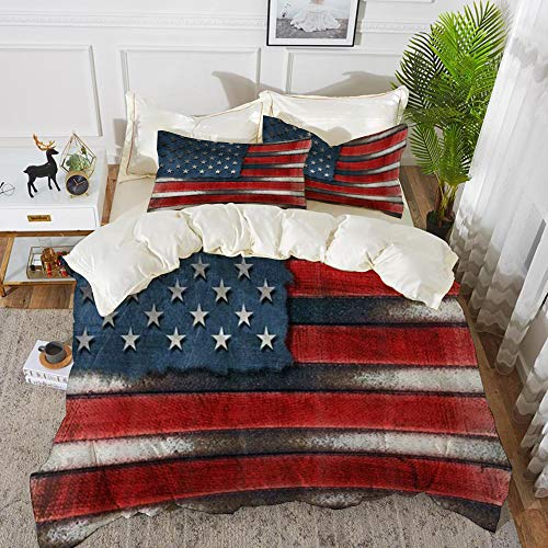 Duvet Cover Set, Bed Sheets, America Flag USA Grungy Metal Flag with Bolts Heads,Microfibre Duvet Cover Set 220 x 240 cmwith 2 Pillowcase 50 X 80cm