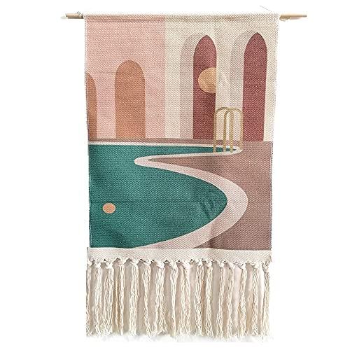 tellaLuna Tapiz para colgar en la pared, diseño de macramé, estilo bohemio, elegante, decoración de la puerta, 19.7 pulgadas de ancho x 15.4 pulgadas de largo