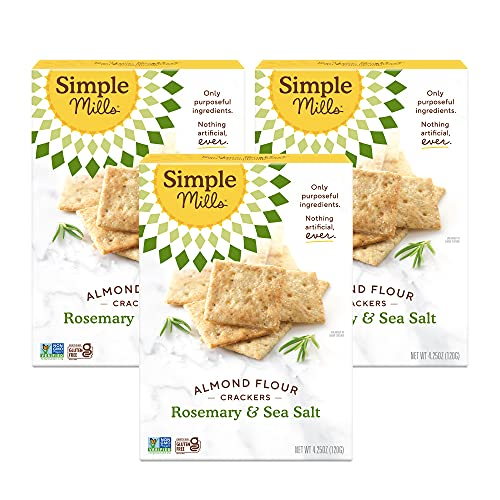 Simple Mills Almond Flour Crackers, Rosemary & Sea Salt, Gluten Free, Flax Seed, Sunflower Seeds, Corn Free, Low-Calorie Snacks, Nutrient Dense, 4.25oz, 3 Count